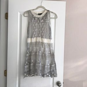 C. Luce silver and crime lace dress